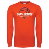 Orange Long Sleeve T Shirt-Volleyball Design