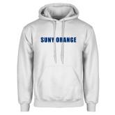 White Fleece Hoodie-SUNY Orange Word Mark