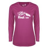 Ladies Syntrel Performance Raspberry Longsleeve Shirt-Primary Logo
