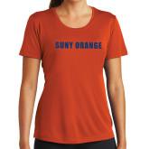 Ladies Syntrel Performance Orange Tee-SUNY Orange Word Mark