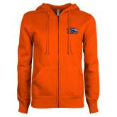 ENZA Ladies Orange Fleece Full Zip Hoodie-Primary Logo