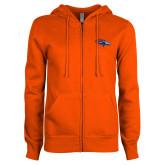 ENZA Ladies Orange Fleece Full Zip Hoodie-SUNY Orange Colt