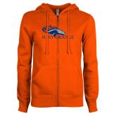 ENZA Ladies Orange Fleece Full Zip Hoodie-SUNY Orange Colt Logo
