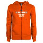 ENZA Ladies Orange Fleece Full Zip Hoodie-Basketball Design