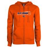 ENZA Ladies Orange Fleece Full Zip Hoodie-Baseball Design