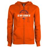 ENZA Ladies Orange Fleece Full Zip Hoodie-Volleyball Design