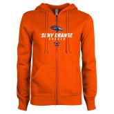 ENZA Ladies Orange Fleece Full Zip Hoodie-Soccerr Design