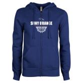 ENZA Ladies Royal Fleece Full Zip Hoodie-Basketball Design