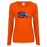 Ladies Orange Long Sleeve V Neck Tee-Primary Logo