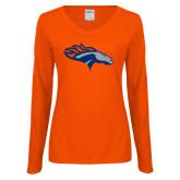 Ladies Orange Long Sleeve V Neck Tee-SUNY Orange Colt