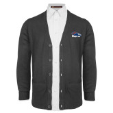 Charcoal V Neck Cardigan w/Pockets-Primary Logo