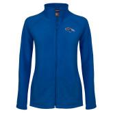 Ladies Fleece Full Zip Royal Jacket-SUNY Orange Colt