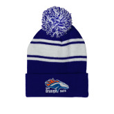 Royal/White Two Tone Knit Pom Beanie w/Cuff-Primary Logo
