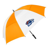 62 Inch Orange/White Vented Umbrella-Primary Logo
