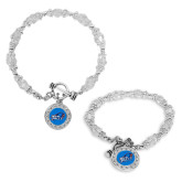 Crystal Jewel Toggle Bracelet with Round Pendant-Head Word Mark