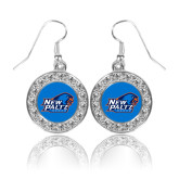 Crystal Studded Round Pendant Silver Dangle Earrings-Head Word Mark