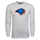 White Long Sleeve T Shirt-Hawk Head