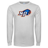 White Long Sleeve T Shirt-NP Hawk Head