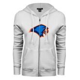 ENZA Ladies White Fleece Full Zip Hoodie-Hawk Head