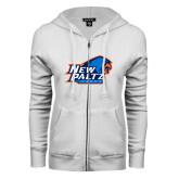ENZA Ladies White Fleece Full Zip Hoodie-Head Word Mark