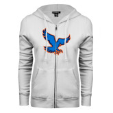 ENZA Ladies White Fleece Full Zip Hoodie-Hawk