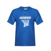 Youth Royal T Shirt-Hawks Basketball w/ Hanging Net