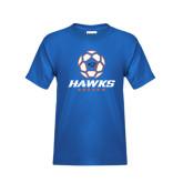Youth Royal T Shirt-Hawks Soccer w/ Geometric Ball
