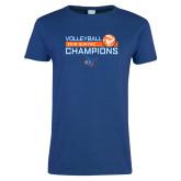 Ladies Royal T Shirt-2018 SUNYAC Volleyball Champions