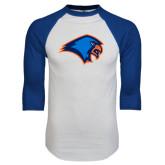 White/Royal Raglan Baseball T Shirt-Hawk Head