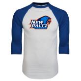 White/Royal Raglan Baseball T Shirt-Head Word Mark