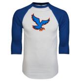 White/Royal Raglan Baseball T Shirt-Hawk