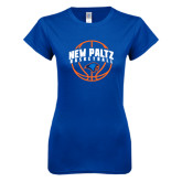 Next Level Ladies SoftStyle Junior Fitted Royal Tee-New Paltz Basketball Arched w/ Ball