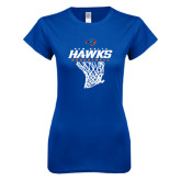 Next Level Ladies SoftStyle Junior Fitted Royal Tee-Hawks Basketball w/ Hanging Net
