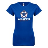 Next Level Ladies SoftStyle Junior Fitted Royal Tee-Hawks Soccer w/ Geometric Ball
