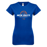 Next Level Ladies SoftStyle Junior Fitted Royal Tee-New Paltz Volleyball Stacked