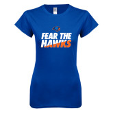 Next Level Ladies SoftStyle Junior Fitted Royal Tee-Fear The Hawks