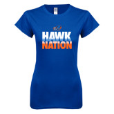 Next Level Ladies SoftStyle Junior Fitted Royal Tee-Hawk Nation
