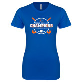 Next Level Ladies SoftStyle Junior Fitted Royal Tee-2018 SUNYAC Field Hockey Champions