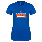 Next Level Ladies SoftStyle Junior Fitted Royal Tee-2019 Womens Basketball Conference Champions