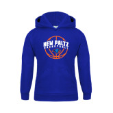 Youth Royal Fleece Hoodie-New Paltz Basketball Arched w/ Ball