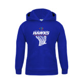 Youth Royal Fleece Hoodie-Hawks Basketball w/ Hanging Net