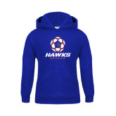 Youth Royal Fleece Hoodie-Hawks Soccer w/ Geometric Ball