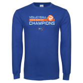 Royal Long Sleeve T Shirt-2018 SUNYAC Volleyball Champions