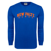 Royal Long Sleeve T Shirt-Arched New Paltz Hawks