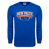 Royal Long Sleeve T Shirt-New Paltz Hawks Arched Stacked