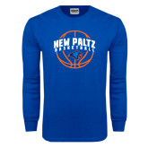Royal Long Sleeve T Shirt-New Paltz Basketball Arched w/ Ball