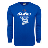 Royal Long Sleeve T Shirt-Hawks Basketball w/ Hanging Net