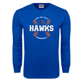 Royal Long Sleeve T Shirt-Hawks Baseball w/ Seams