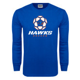 Royal Long Sleeve T Shirt-Hawks Soccer w/ Geometric Ball