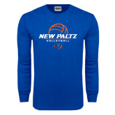 Royal Long Sleeve T Shirt-New Paltz Volleyball Stacked